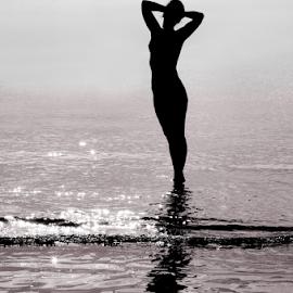 Amphora by Bogdan Balas - People Portraits of Women ( water, woman, silhouette, sea, sunrise )