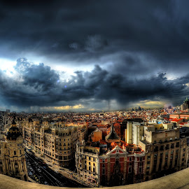 The sky over Madrid by Rino Calori - City,  Street & Park  Vistas ( sky, sunset, madrid, spain )