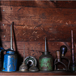 Oil Cans by Raquel Gonzalez - Artistic Objects Antiques ( oil cans, wood, wool mill, rust )