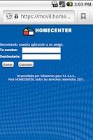 Screenshot of Homecenter
