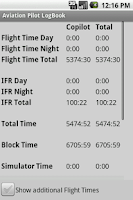 Screenshot of Aviation Pilot LogBook