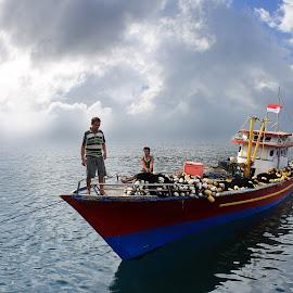 fisherman and boat by Robby Montolalu - Transportation Boats ( sangihe, north sulawesi, tahuna )