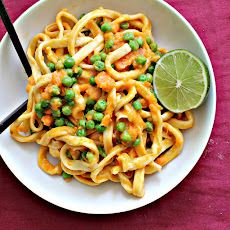 Homemade Ginger Pasta with Curried Sweet Potato Wasabi Sauce