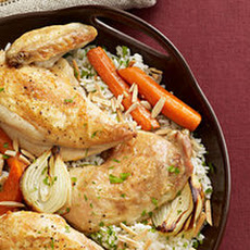 Roast Chicken and Vegetables with Almond Pilaf