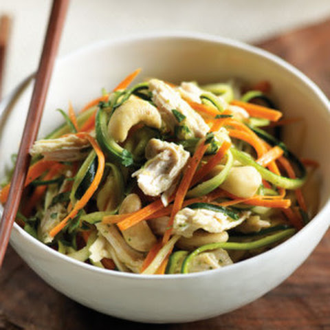 Thai Mango Zucchini Noodle Salad with Chicken