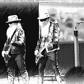 ZZ Top by Clara Christensen - People Musicians & Entertainers ( blues rock, music, concert, zztop, sharped dressed man, rock, blues )