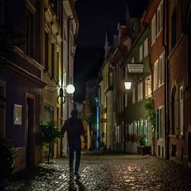 Walking in the night by Jesus Giraldo - City,  Street & Park  Street Scenes ( concept, reflections, art., man, slors, city )