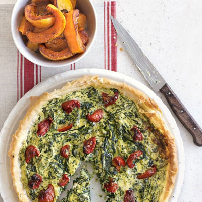 Crisp Spinach Tart With Squash Wedges