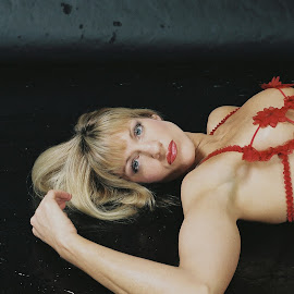 Lady In Red by Don Christian - Nudes & Boudoir Artistic Nude ( sexy, lingerie, lady in red )