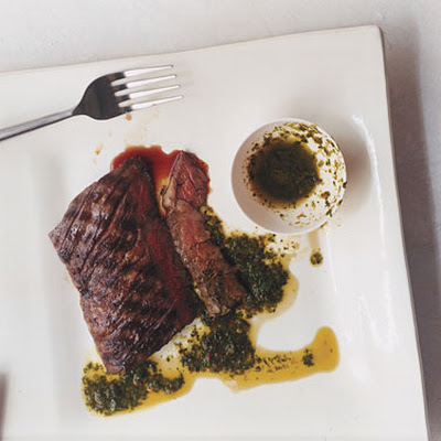 Grilled Skirt Steaks with Parsley Oregano Sauce