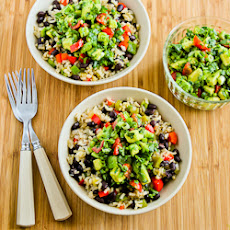 Slow Cooker Vegan Brown Rice Mexican Bowl with Black Beans, Bell Peppers, and Poblano-Avocado Salsa