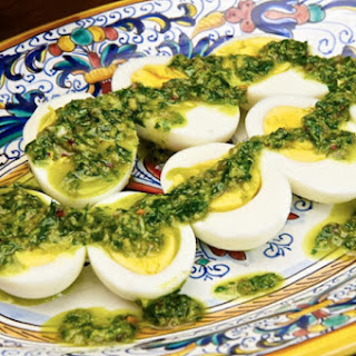 Uova sode in salsa verde (Hard Boiled Eggs in 'Green Sauce')