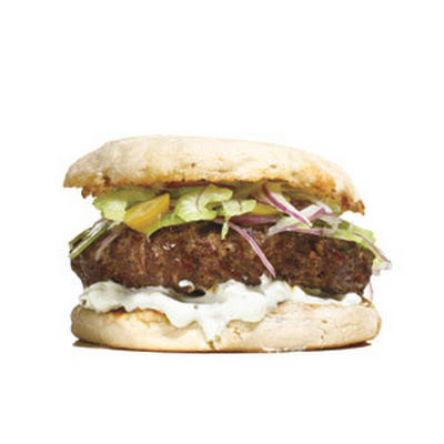 Burgers With Celery, Olives, and Blue Cheese