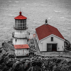 Point Reyes Light Station by Chase Mueller - Buildings & Architecture Other Exteriors ( seashore, california, national, cliff, sea, ocean, beach, coastal, coast, backpacking, point, selective colour, red, reyes, camping,  )