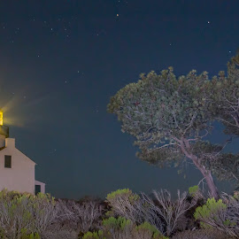 Old Point Loma Lighthouse by Michael Lauffenburger - Buildings & Architecture Public & Historical ( san diego, point, old, loma, california, lighthouse, pacific, night, beacon )