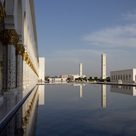 Reflecting Pool by Fares Ghneim - Buildings & Architecture Places of Worship ( reflection, pool, mosque, uae, abu dhabi, worship, pillars, middle east )