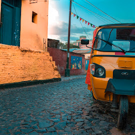 Barrio San Gerónimo by Albert Elgert - City,  Street & Park  Neighborhoods ( blue, orange. color )