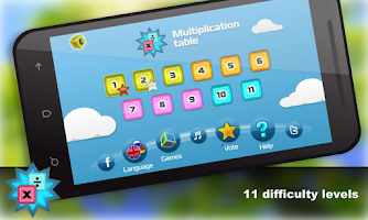 Screenshot of Math. Мultiplication table