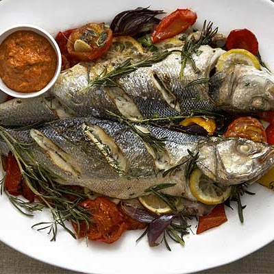 Baked Sea Bass With Romesco Sauce