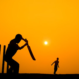 THE MAGICAL SHOT by Gobinath S K - Landscapes Sunsets & Sunrises ( playing, holiday, friends, silhouette, sunset, sports, india,  )