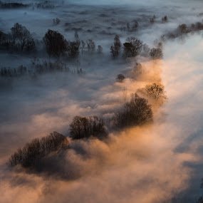 River of mist at sunrise by Pietro Ebner - Landscapes Cloud Formations ( , golden hour, sunset, sunrise )