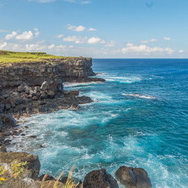 South Point, Hawaii by Karen Martin - Landscapes Beaches ( water, hill, mountain, waves, green, cliff, pacific, rock, ocean, beach, volcano, turquoise, south point, lava, blue, tide, surf, hawaii )