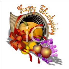 0511-0703-1314-4458_Happy_Thanksgiving_Cornucopia_with_Fruits_Pumpkin_and_a_Bow_clipart_image