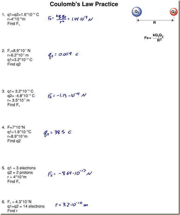 Coulomb's Law Practice WS Answers - Regents Physics