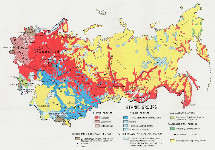 Map, Ethnic Distribution of USSR