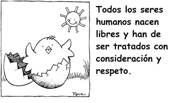 DECLARACION DE DERECHOS HUMANOS EN LAMINAS PARA PINTAR LOS NIÑOS