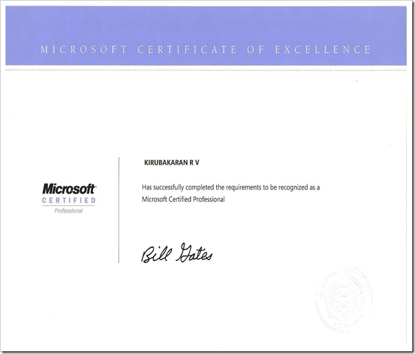 My MCP Certificate