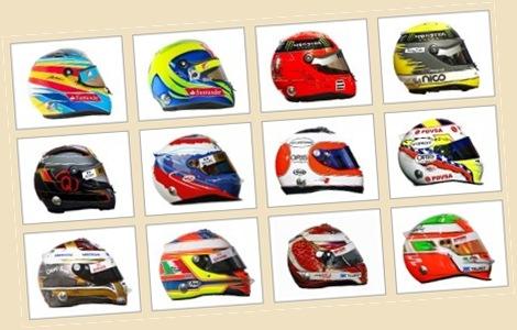 Les casques des pilotes de formules 1 - 2011