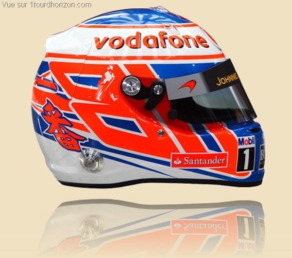 Casque des pilotes de formule 1 - Jenson Button