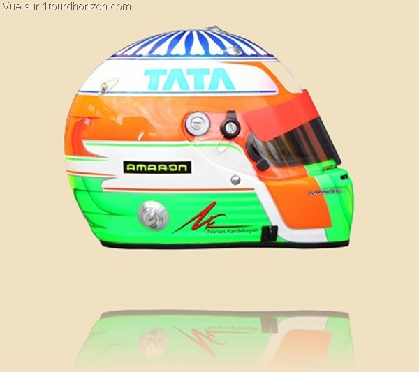 Casque des pilotes de formule 1 - Narain Karthikeyan