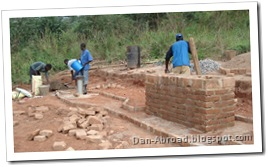 All the bricks for the civil works laid
