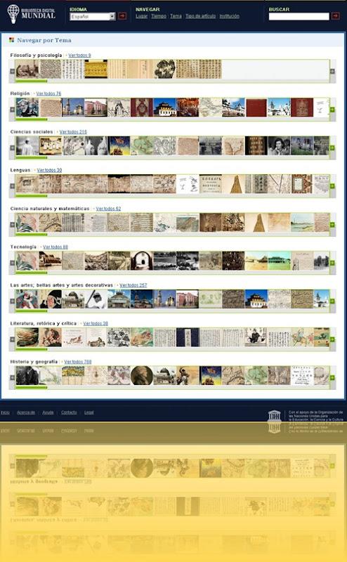 En la Biblioteca Digital Mundial, puedes navegar por Temas