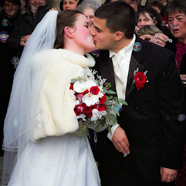 Kiss by Jason Weigner - Wedding Bride & Groom ( kiss, wedding, bubbles, bride, groom, Wedding, Weddings, Marriage )