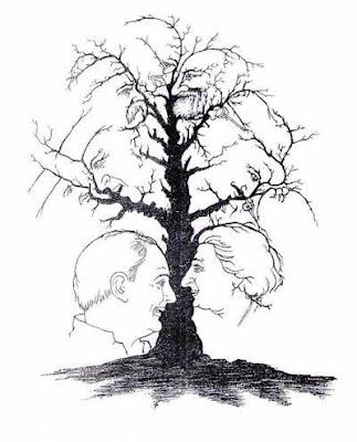 Ilusão de Óptica Preto e Banco Árvore Genealógica