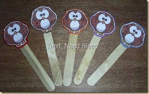 5 little owls stick puppets