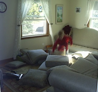jumping on cushions