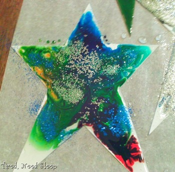 Finished, glittered, corn syrup shiny star