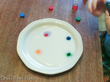 food coloring drops on saucer of milk