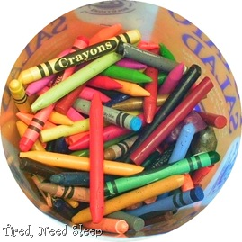 Crayons with paper removed