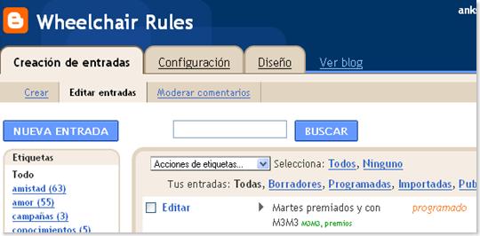 Blogger- Wheelchair Rules - Administrar entradas