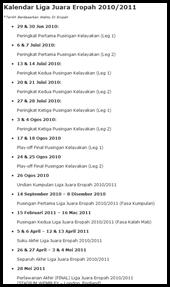 Jadual Penuh Liga Juara Eropah 2010 2011 Sokernet