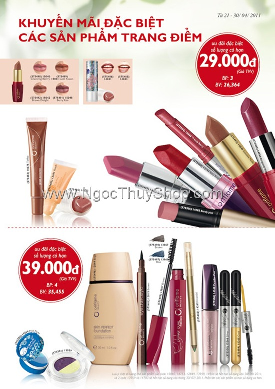 Oriflame Khuyen Mai Dac Biet Thang 4-2011