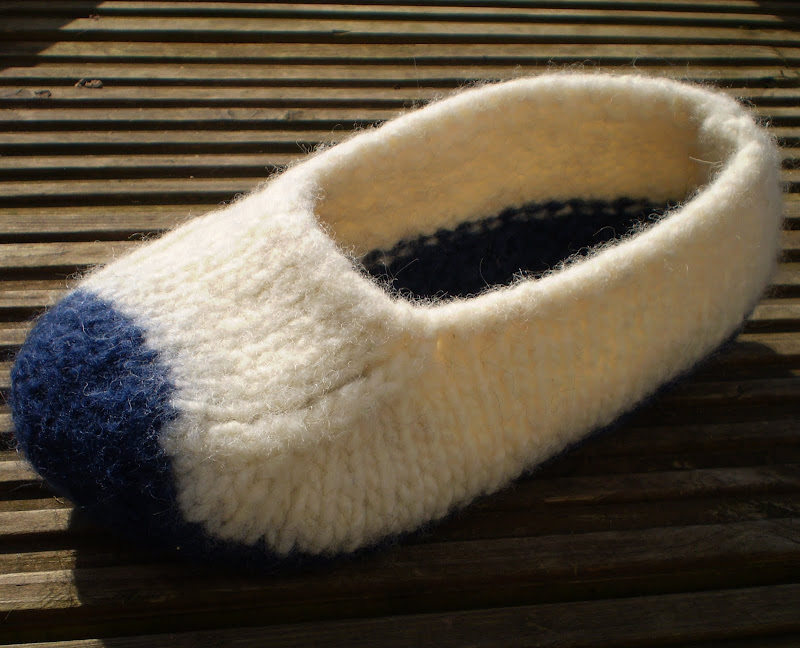 Felted Slippers Knitting Pattern :  Duffers    A Quick and Easy 19 row Felted Slipper pattern   Knit & Purl ...