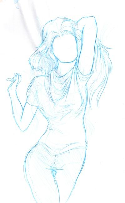 Sketch menina azul 1