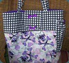 black and purple diaper bag 1