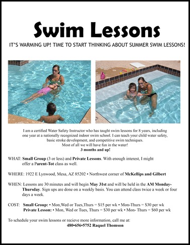 swim lesson flyer